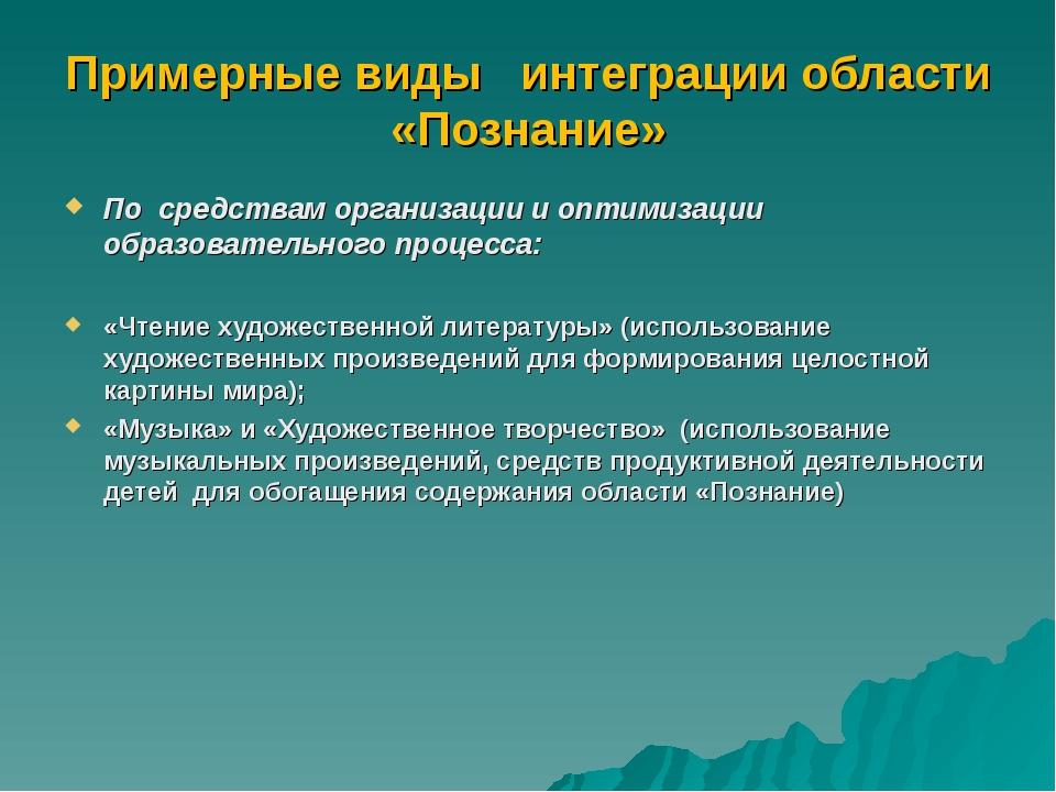 Примерные виды интеграции области «Познание» По средствам организации и оптим...