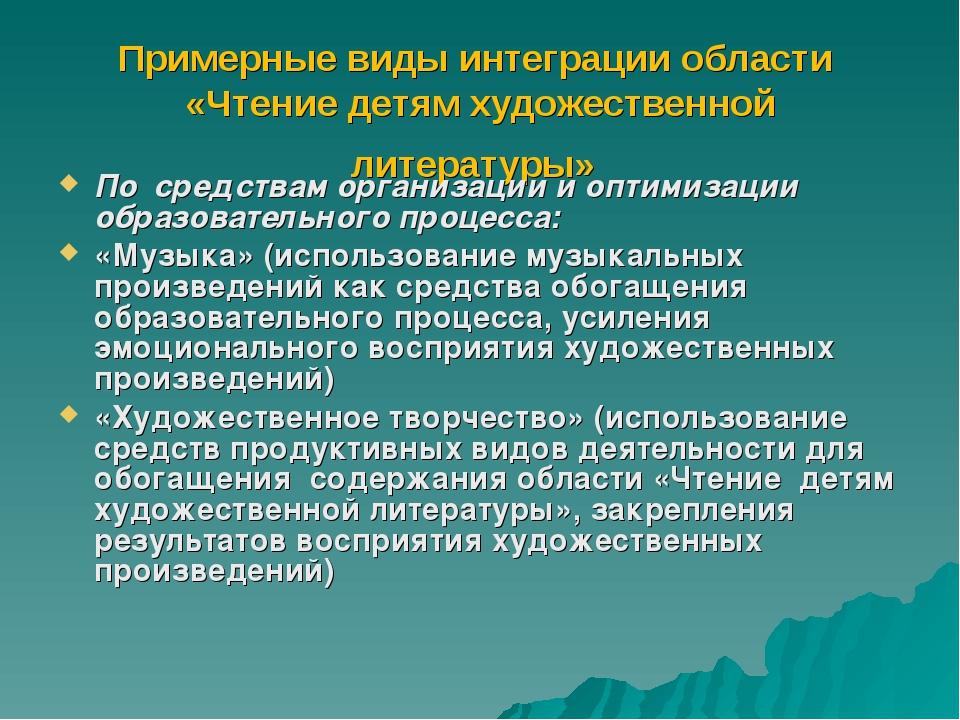 Примерные виды интеграции области «Чтение детям художественной литературы» По...
