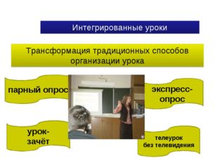 Интегрированные уроки Трансформация традиционных способов организации урока у