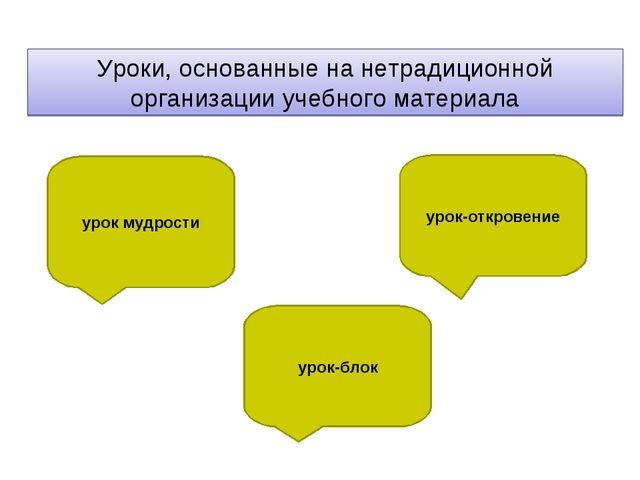 Уроки, основанные на нетрадиционной организации учебного материала урок мудро...
