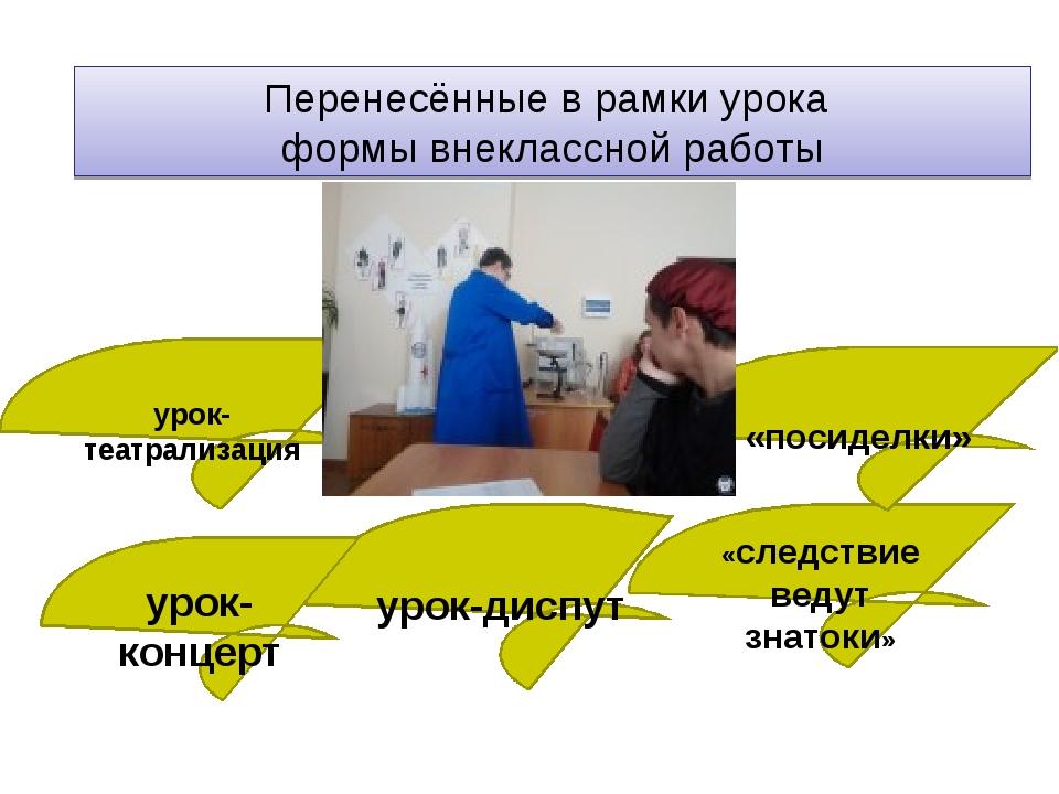 Перенесённые в рамки урока формы внеклассной работы урок-театрализация урок-д...