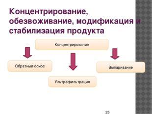 Концентрирование, обезвоживание, модификация и стабилизация продукта Концентр