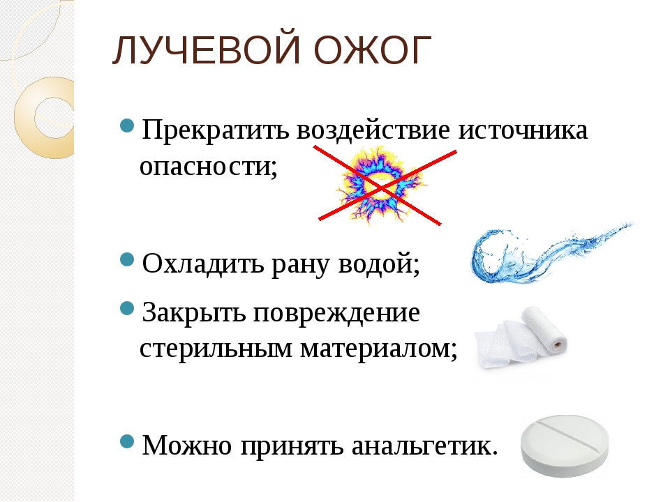 Прекратить воздействие источника опасности; Охладить рану водой; Закрыть повр...