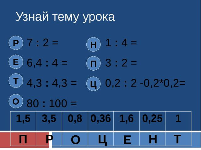 Узнай тему урока 7 : 2 = 1 : 4 = 6,4 : 4 = 3 : 2 = 4,3 : 4,3 = 0,2 : 2 -0,2*0...