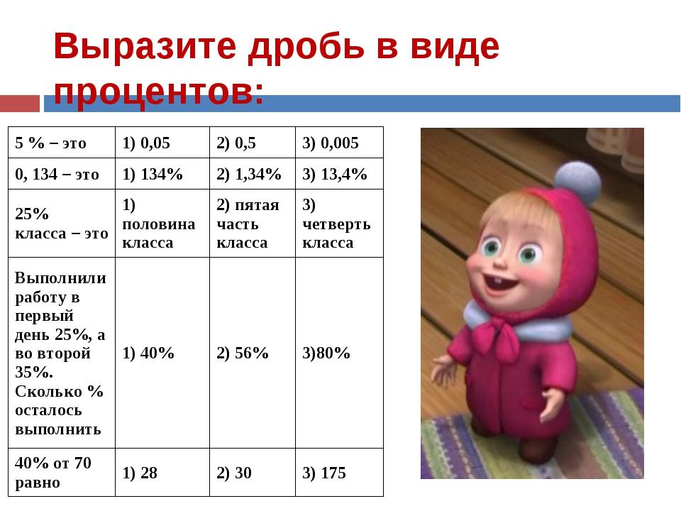 Выразите дробь в виде процентов: 5 % – это1) 0,052) 0,53) 0,005 0, 134 – э...
