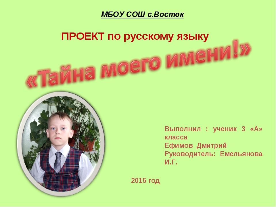 МБОУ СОШ с.Восток Выполнил : ученик 3 «А» класса Ефимов Дмитрий Руководитель:...