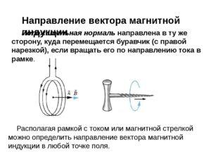 Направление вектора магнитной индукции Положительная нормаль направлена в ту