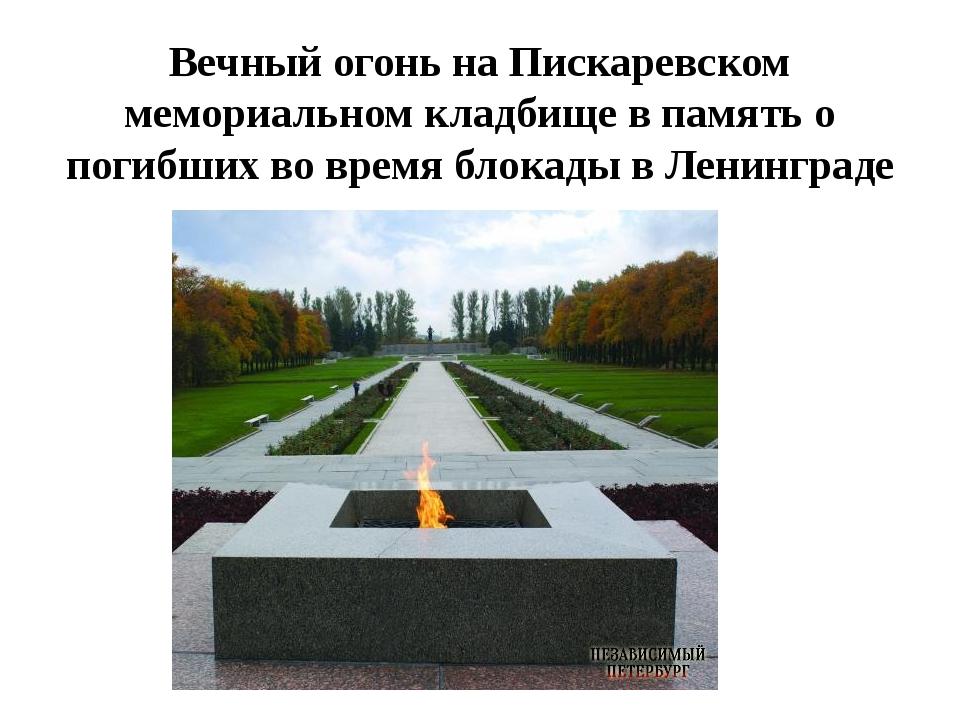 Вечный огонь на Пискаревском мемориальном кладбище в память о погибших во вре...