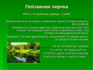 Пейзажная лирика «Не то, что мните вы, природа…» (1830) Правильнее было бы на