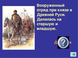 Вооруженный отряд при князе в Древней Руси. Делилась на старшую и младшую. Др