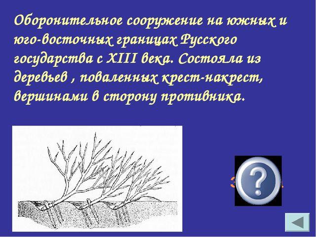Оборонительное сооружение на южных и юго-восточных границах Русского государс...