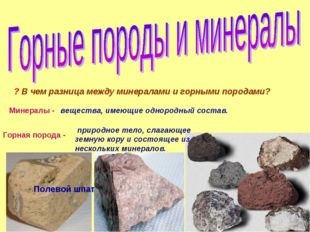 ? В чем разница между минералами и горными породами? Минералы - вещества, име