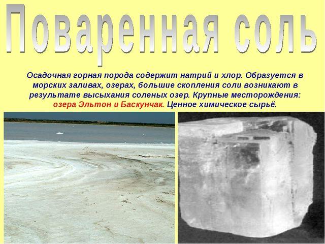Осадочная горная порода содержит натрий и хлор. Образуется в морских заливах,...