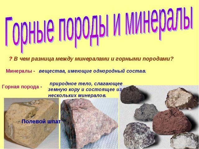 ? В чем разница между минералами и горными породами? Минералы - вещества, име...