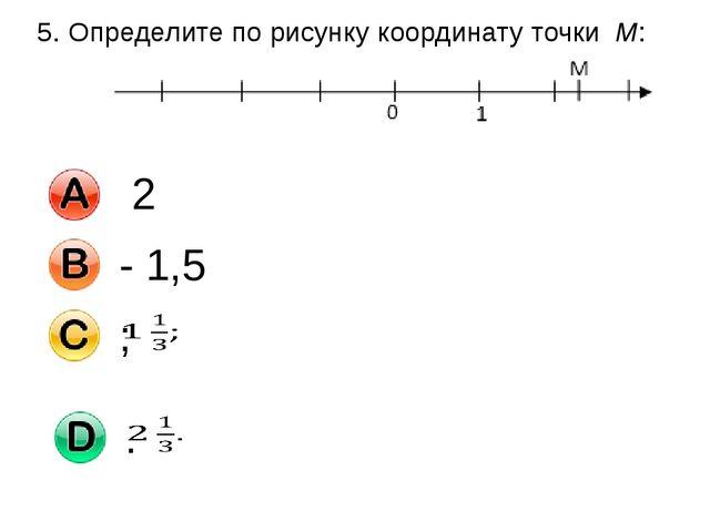 5. Определите по рисунку координату точки M: 2 - 1,5