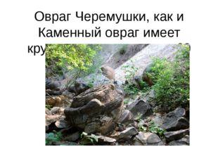 Овраг Черемушки, как и Каменный овраг имеет крутизну склона свыше 60 градусов