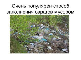 Очень популярен способ заполнения оврагов мусором