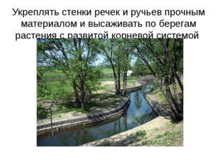Укреплять стенки речек и ручьев прочным материалом и высаживать по берегам ра
