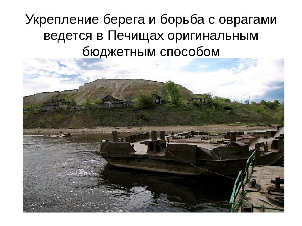 Укрепление берега и борьба с оврагами ведется в Печищах оригинальным бюджетны...