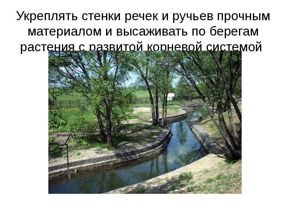 Укреплять стенки речек и ручьев прочным материалом и высаживать по берегам ра...