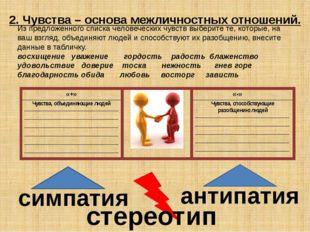 2. Чувства – основа межличностных отношений. симпатия антипатия стереотип Из