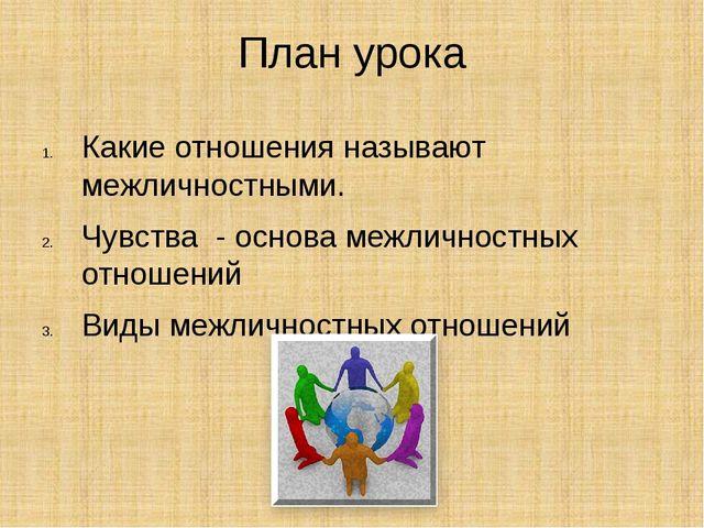 План урока Какие отношения называют межличностными. Чувства - основа межлично...