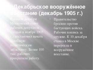 7. Декабрьское вооружённое восстание (декабрь 1905 г.) В начале декабря Моско