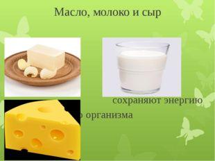 Масло, молоко и сыр сохраняют энергию нашего организма