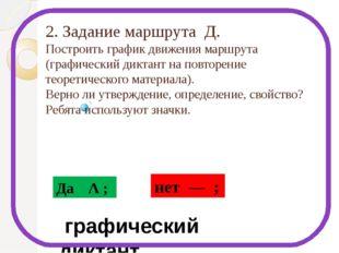 2. Задание маршрута Д. Построить график движения маршрута (графический диктан