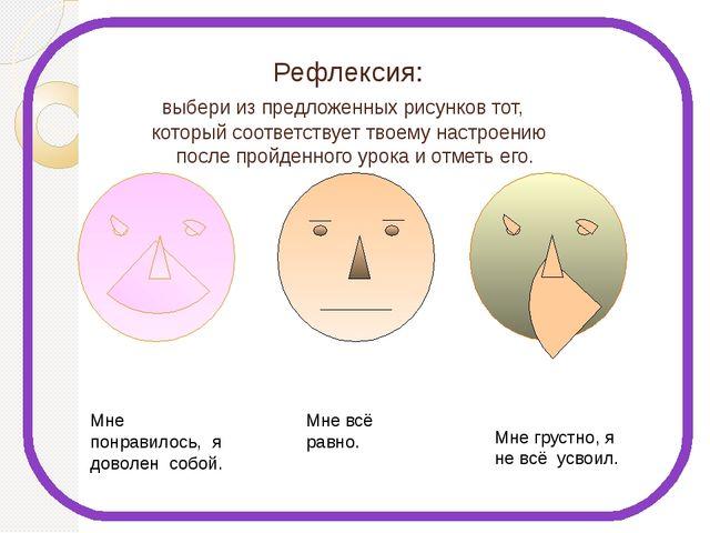 Рефлексия: выбери из предложенных рисунков тот, который соответствует твоему...