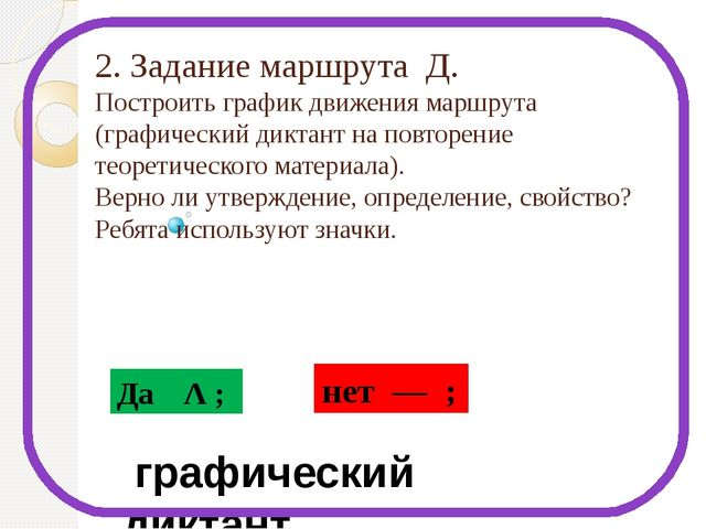 2. Задание маршрута Д. Построить график движения маршрута (графический диктан...