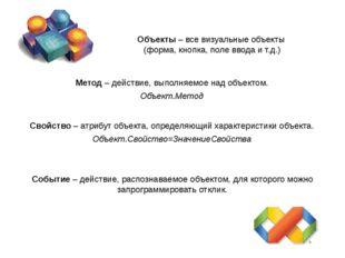 Объекты – все визуальные объекты (форма, кнопка, поле ввода и т.д.) Метод – д