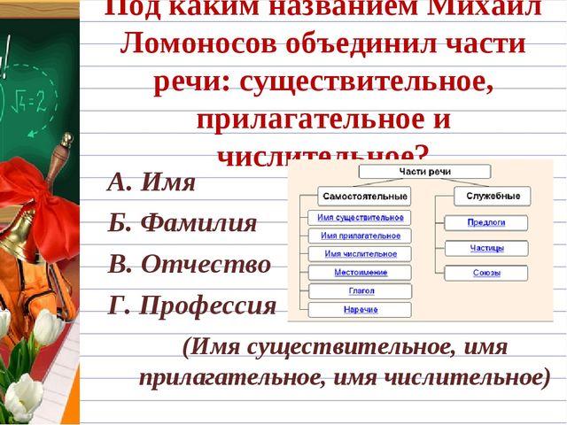Под каким названием Михаил Ломоносов объединил части речи: существительное, п...