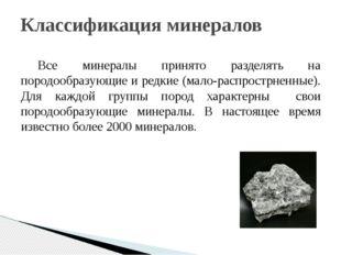 Все минералы принято разделять на породообразующие и редкие (мало-распрострне