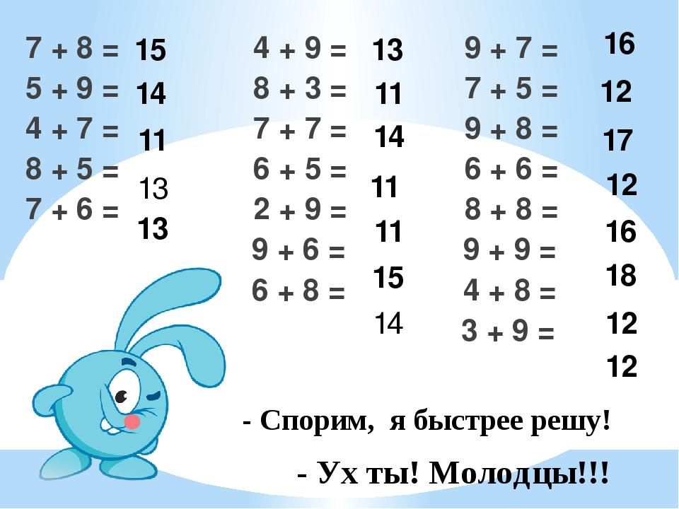 7 + 8 = 4 + 9 = 9 + 7 = 5 + 9 = 8 + 3 = 7 + 5 = 4 + 7 = 7 + 7 = 9 + 8 = 8 + 5...