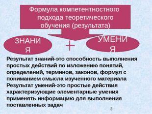 Формула компетентностного подхода теоретического обучения (результата) ЗНАНИ