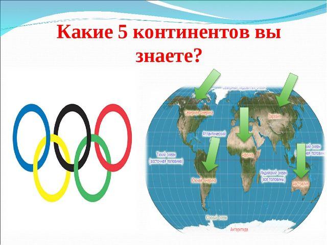 Какие 5 континентов вы знаете?