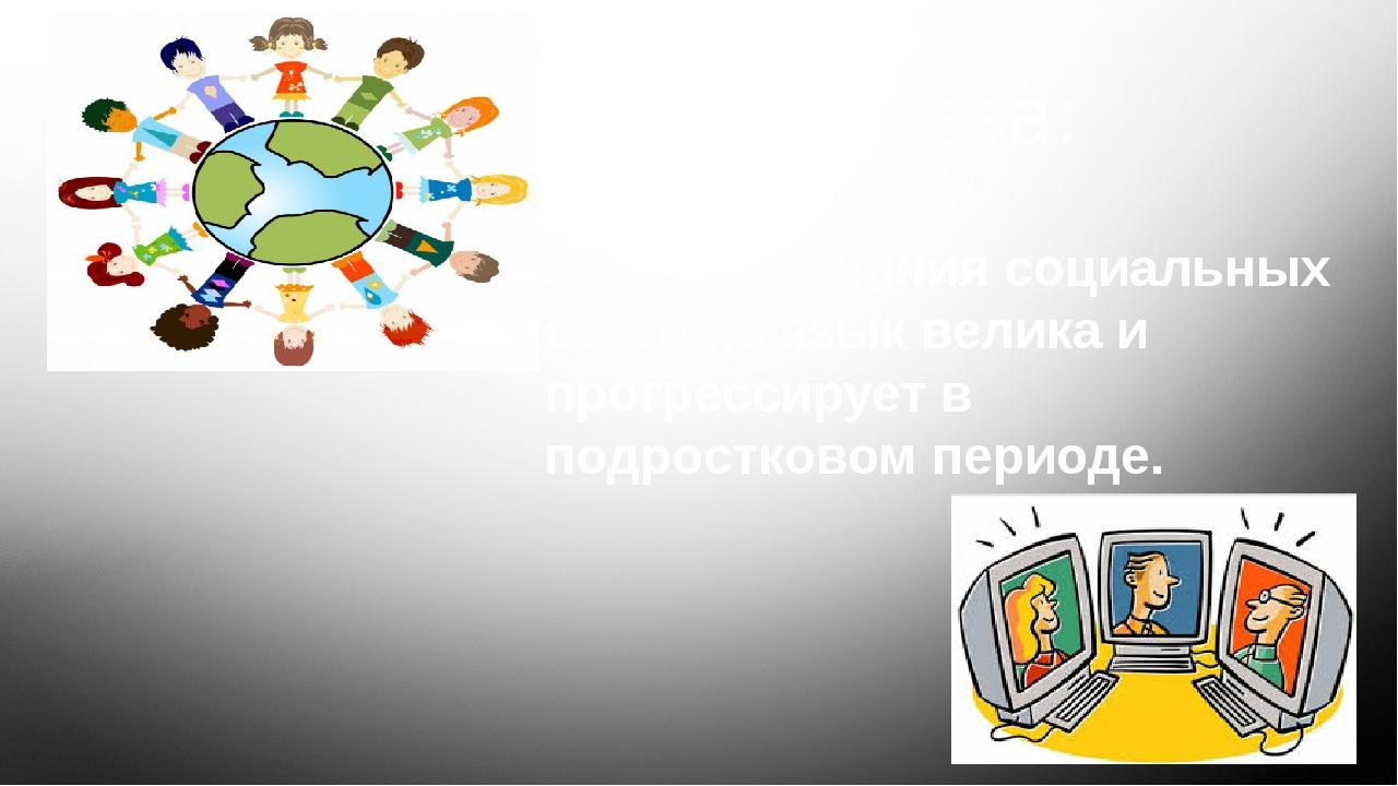 Гипотеза: • Степень влияния социальных сетей на язык велика и прогрессирует...