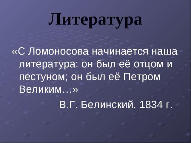Литература «С Ломоносова начинается наша литература: он был её отцом и пестун...