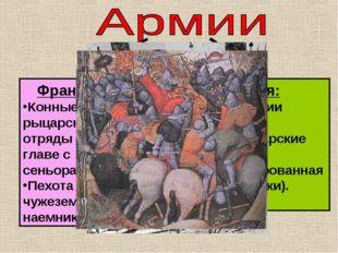 Франция Конные рыцарские отряды во главе с сеньорами; Пехота из чужеземных на