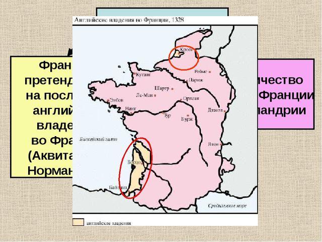 Причины войны Франция претендовала на последние английские владения во Франци...