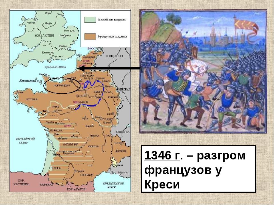 1346 г. – разгром французов у Креси