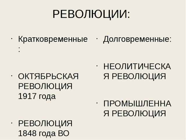 РЕВОЛЮЦИИ: Кратковременные: ОКТЯБРЬСКАЯ РЕВОЛЮЦИЯ 1917 года РЕВОЛЮЦИЯ 1848 го...