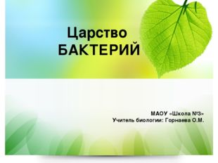 Царство БАКТЕРИЙ МАОУ «Школа №3» Учитель биологии: Горнаева О.М.