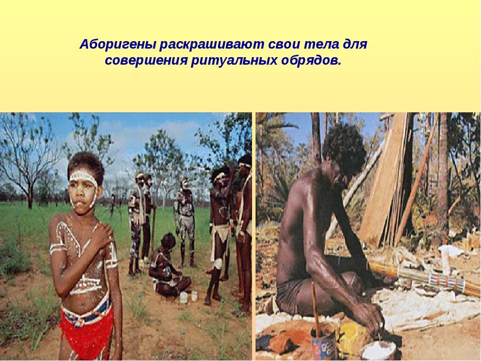 Аборигены раскрашивают свои тела для совершения ритуальных обрядов.