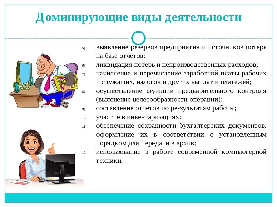 Доминирующие виды деятельности выявление резервов предприятия и источников по...
