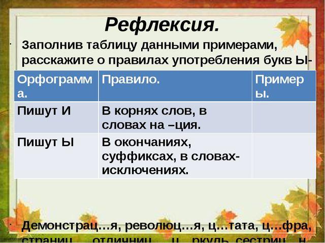 Рефлексия. Заполнив таблицу данными примерами, расскажите о правилах употребл...