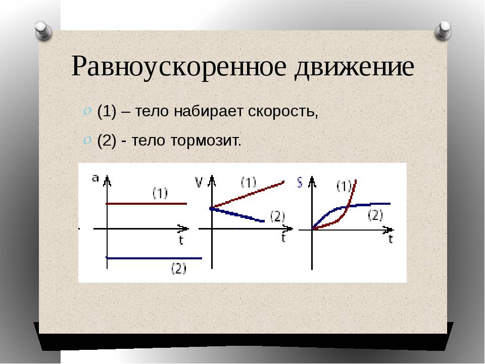 (1) – тело набирает скорость, (2) - тело тормозит. Равноускоренное движение