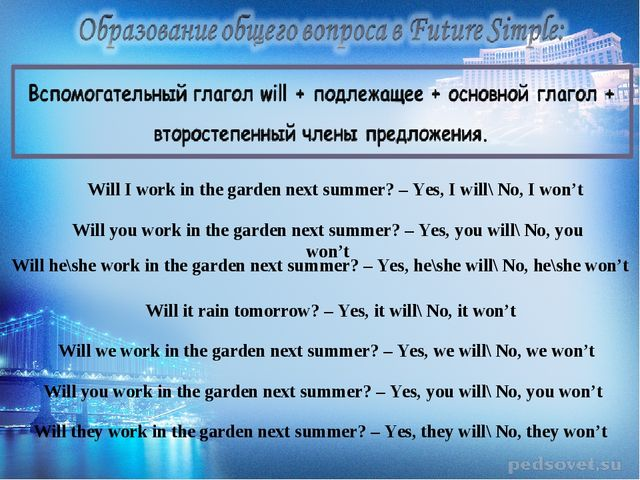 Will I work in the garden next summer? – Yes, I will\ No, I won't Will you wo...