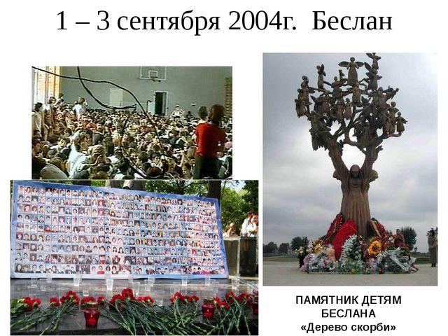 1 – 3 сентября 2004г. Беслан ПАМЯТНИК ДЕТЯМ БЕСЛАНА «Дерево скорби»